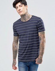 Scotch And Soda T Shirt Navy Stripe In Stretch Slim Fit In Navy Navy