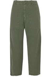 Nili Lotan Luna Cropped Cotton And Linen Blend Twill Pants Army Green