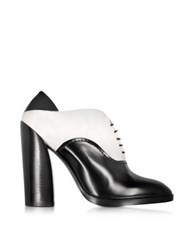 Jil Sander Black And White Leather And Suede Lace Up Bootie