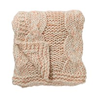 Bloomingville Knitted Throw Pink White