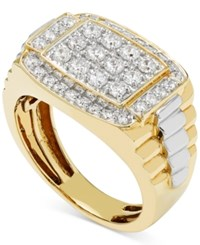 Macy's Men's Diamond Cluster Two Tone Ring 1 Ct. T.W. In 10K Yellow And White Gold