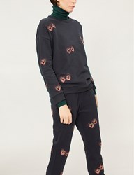 Chinti And Parker Heart Embroidered Cotton Jersey Sweatshirt Navy