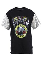 12 Midnight Sequin Sleeves Print Tshirt Black Silver