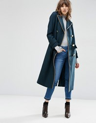 Asos Wool Blend Coat In Midi Length With Military Details Teal Green