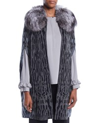 Kobi Halperin Colene Sweater W Detachable Fur Collar Grey Multi
