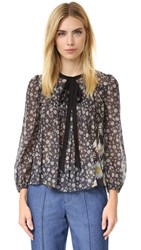 Marc Jacobs Peasant Blouse With Tie Black Multi
