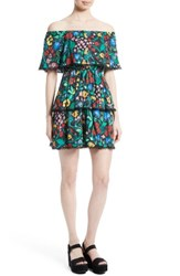 Alice Olivia Women's Tylie Tiered Ruffle Floral Dress