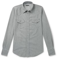 Tom Ford Mickey Slim Fit Denim Western Shirt Gray