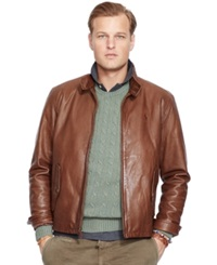 Polo Ralph Lauren Big And Tall Leather Barracuda Jacket Ash Burn Brown
