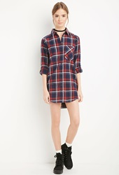 Forever 21 Plaid Flannel Shirt Dress Navy Red