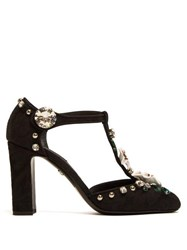 Dolce And Gabbana Vally Lily T Bar Jacquard Pumps Black Multi