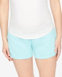 Motherhood Maternity French Terry Shorts Aruba Blue
