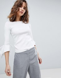 Hugo Ribbed Jumper With Flared Sleeve Detail White
