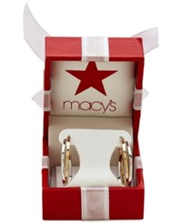 Macy's Two Tone Gold Or White Gold Intertwined Hoop Earrings In 14K Gold And 14K White Gold Two Tone