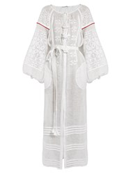Vita Kin Butterfly Embroidered Linen Dress White