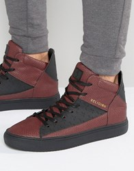 Religion League Snakeskin Hi Top Trainers Red