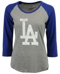 47 Brand '47 Women's Los Angeles Dodgers Primary Logo Club Raglan T Shirt Gray Royalblue