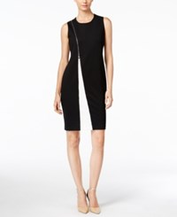 Alfani Colorblocked Zipper Sheath Dress Only At Macy's Black White