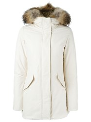 Woolrich Raccoon Fur Trim Padded Coat White
