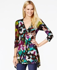 Cable And Gauge Handkerchief Hem Tunic Water Floral