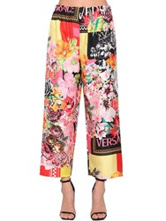 Versace Cropped Silk Twill Pants Multicolor
