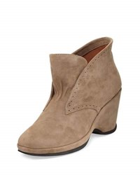 L' Amour Des Pieds Oden Suede Wedge Bootie Taupe
