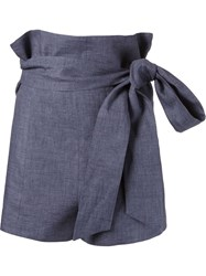 Giuliana Romanno Belted High Waist Shorts Blue