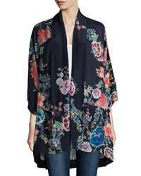 Johnny Was Gail Floral Print Kimono Jacket Multi Navy