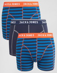 Jack And Jones Trunks 3 Pack With Stripe Navy