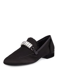 Giuseppe Zanotti Men's Frayed Silk Rhinestone Embellished Formal Loafer Black
