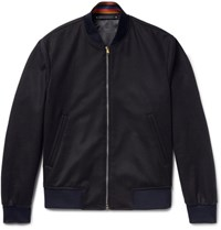 Paul Smith Slim Fit Wool And Cashmere Blend Bomber Jacket Midnight Blue