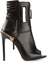 Gianmarco Lorenzi Open Toe Ankle Boots Black