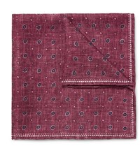 Brunello Cucinelli Double Faced Printed Silk Pocket Square Burgundy