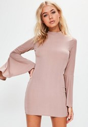 Missguided Petite Exclusive Purple Flared Sleeve Ribbed Mini Dress
