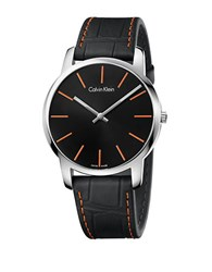 Calvin Klein City Stainless Steel And Embossed Leather Strap Watch Black