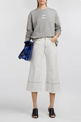 Courreges Embroidered Cotton Jersey Sweatshirt Grey