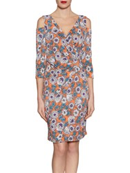 Gina Bacconi Mixed Flower Print Jersey Dress Orange