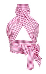 Mds Stripes M'o Exclusive Everything Checked Scarf Wrap Top Plaid
