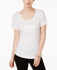 Guess Scoop Neck Graphic T Shirt True White