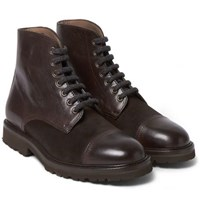 Brunello Cucinelli Cashmere Lace Up Leather Boots Brown