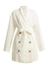 Attico Crystal Embellished Button Linen Jacket White