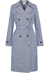 Iris And Ink Meredith Belted Prince Of Wales Cotton Trench Coat Gray
