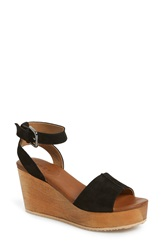 Hinge 'Aimee' Wooden Platform Wedge Sandal Women Black