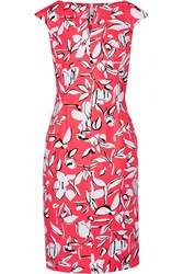 Oscar De La Renta Floral Print Cotton Dress Orange