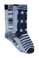 Lucky Brand Stars And Stripes Crew Cut Socks Pack Of 4 Blue