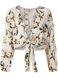 Adriana Degreas Front Tie Printed Shirt 60