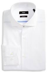 Boss Men's Big And Tall Slim Fit Easy Iron Solid Dress Shirt White