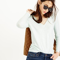 J.Crew Vintage Cotton Long Sleeve V Neck Tee In Metallic