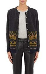 Barneys New York Women's Wool Blend Cardigan Sweater Dark Grey