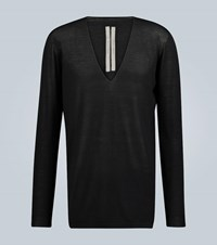 Rick Owens Oversized Wool V Neck Sweater Black